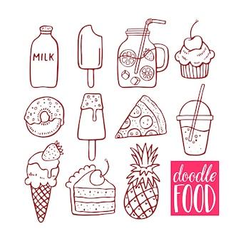 Schattige set van doodle eten. handgetekende illustratie