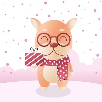 Schattige shiba inu dog in wintersjaal met geschenkdoos, hart en roze sneeuw.
