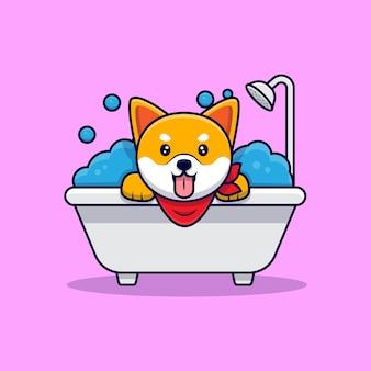 Schattige shiba inu hond nemen een bad cartoon pictogram illustratie
