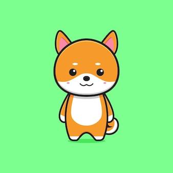 Schattige shiba inu mascotte karakter cartoon pictogram illustratie. ontwerp geïsoleerde platte cartoonstijl