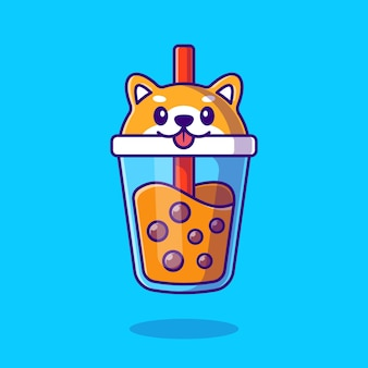 Schattige shiba inu milk tea boba cartoon