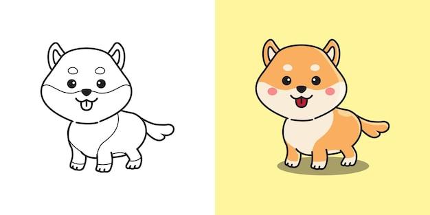 Schattige shiba inu rashond kleurplaat voor kinderen. kinderen activiteit. vlakke stijl cartoon.
