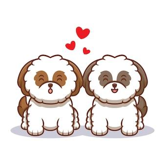Schattige shih-tzu puppy fall in love cartoon pictogram illustratie