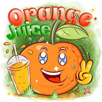 Schattige sinaasappel met een glas sap