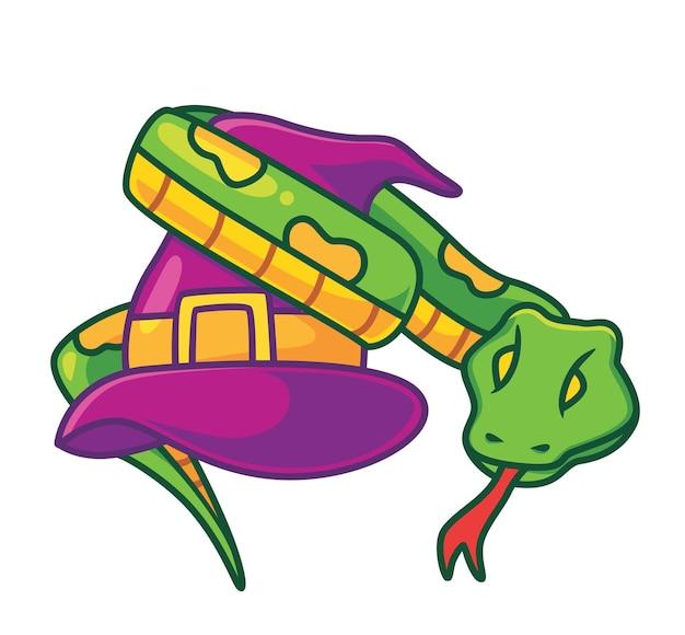 Schattige slang op de tovenaarshoed geïsoleerde cartoon dier halloween concept illustratie flat style
