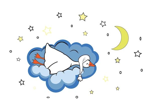Schattige slapende gans in een slaapmuts op een blauwe wolk in de lucht met sterren en de maan
