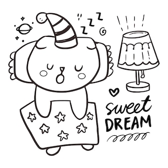 Schattige slapende kat pagina kleuren tekening voor kinderen. zoete dromen citeren illustratie