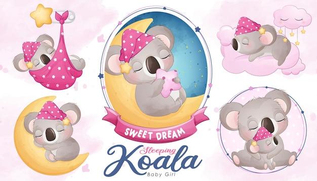 Schattige slapende koala baby shower met aquarel illustratie set