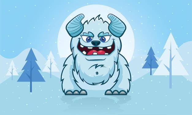 Schattige sneeuwmonster vector tekening