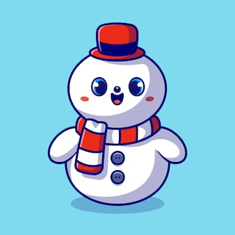 Schattige sneeuwpop cartoon afbeelding