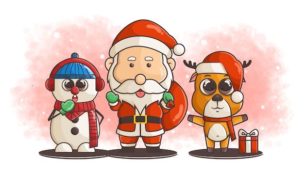 Schattige sneeuwpop, kerstman, herten cartoon karakter illustratie