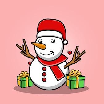 Schattige sneeuwpop met kerstmuts cartoon