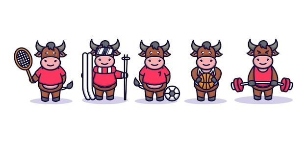Schattige stier met sportkostuum