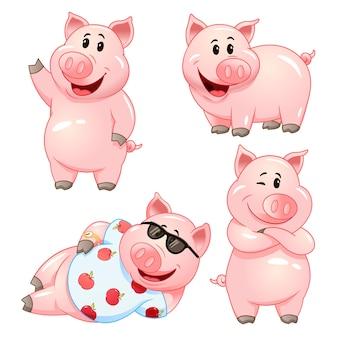 Schattige stripfiguren van varken in verschillende poses. illustratie set.
