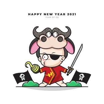 Schattige stripfiguur van chinese baby met os kostuum neemt de rol van een piraat zwaaiende een zwaard en gelukkig nieuwjaar groeten