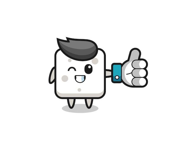 Schattige suikerklontje met sociale media duim omhoog symbool, schattig stijlontwerp voor t-shirt, sticker, logo-element