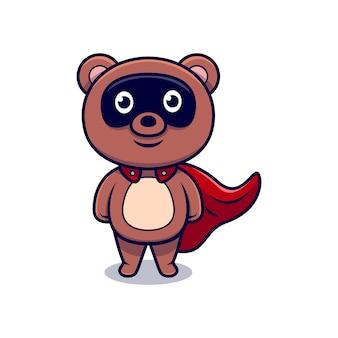 Schattige super bear cartoon pictogram illustratie