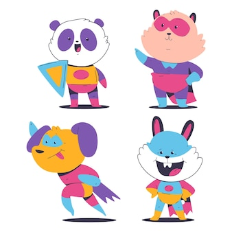 Schattige superheld dieren in mantel en masker vector tekenfilm set geïsoleerd op een witte achtergrond.