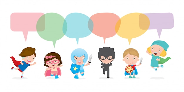 Schattige superheld kinderen met tekstballonnen