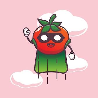 Schattige superheld tomaat karakter illustratie