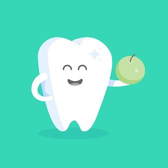 Schattige tand stripfiguur met gezicht, ogen en handen. het concept voor het personage van klinieken, tandartsen, posters, bewegwijzering, websites.