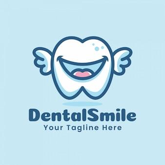 Schattige tand tanden cartoon logo karakter illustratie vliegen met vleugels