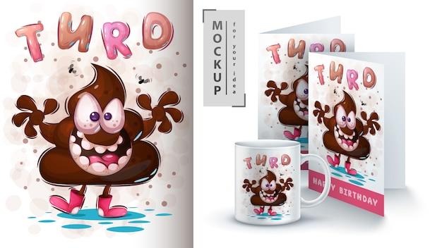 Schattige teddy drol - poster en merchandising.