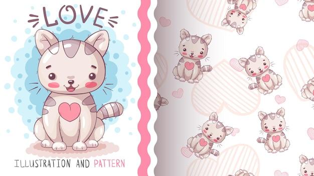 Schattige teddy kat - kinderachtig stripfiguur dier