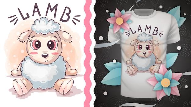 Schattige teddy lam - idee voor print t-shirt