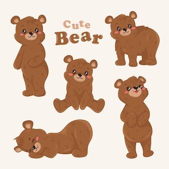 Schattige teddybeer bruine set