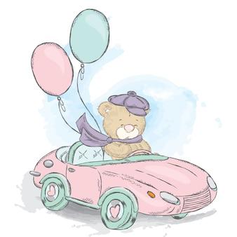 Schattige teddybeer in een cabriolet.