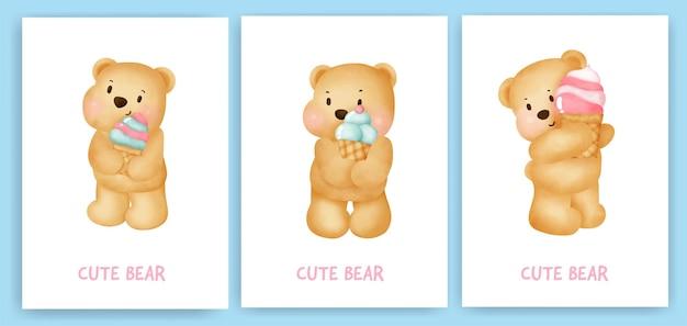 Schattige teddybeer met een ijs-wenskaart in de stijl van de waterkleur.