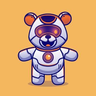 Schattige teddybeer robot cartoon vectorillustratie pictogram. dierlijke wetenschap pictogram concept geïsoleerd premium vector. platte cartoonstijl