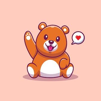 Schattige teddybeer zwaaiende hand