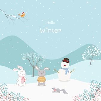 Schattige tekenfilm dieren met sneeuwpop gelukkig op winter achtergrond, vectorillustratie