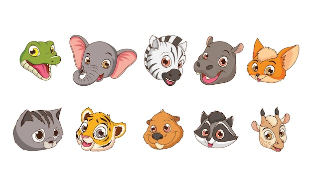 Schattige tien dieren baby's hoofd stripfiguren