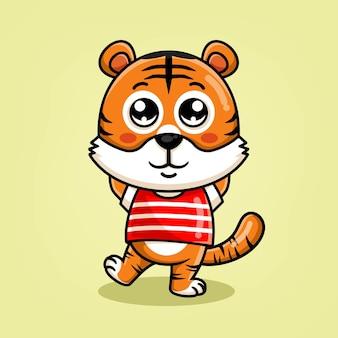Schattige tijger cartoon staande illustratie