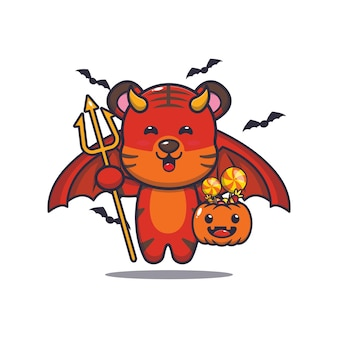 Schattige tijger duivel met pompoen halloween schattige halloween cartoon illustratie