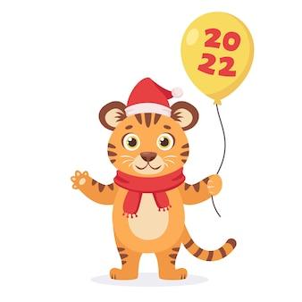 Schattige tijger in een sjaal met een ballon 2022 jaar van de tijger