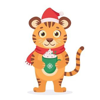 Schattige tijger in een sjaal met koffiekopje jaar van de tijger