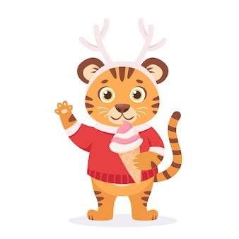 Schattige tijger in een sweter met ijs jaar van de tijger