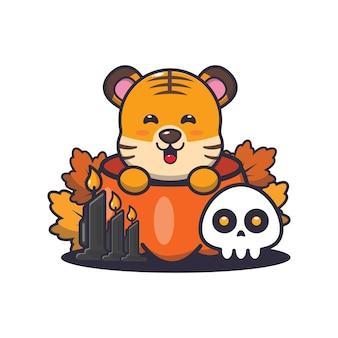 Schattige tijger in halloween-pompoen schattige halloween-cartoonillustratie