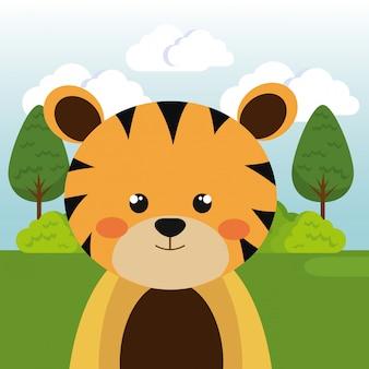Schattige tijger in het veld karakter