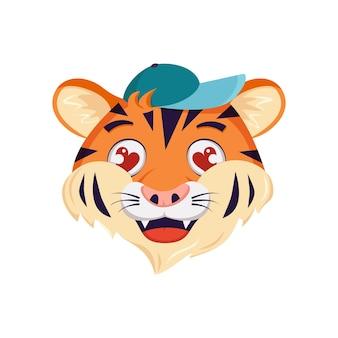 Schattige tijger karakter wordt verliefd gezicht met ogen harten wilde dieren van afrika grappig of glimlach carto...