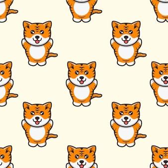 Schattige tijger mascotte karakter patroon ontwerp