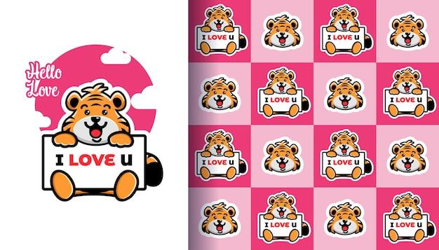Schattige tijger met een bord ik hou van je met naadloos patroon