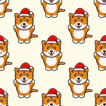 Schattige tijger met hoed kerst mascotte karakter patroon ontwerp
