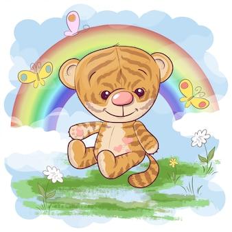 Schattige tijgerwelp met regenboog. cartoon stijl