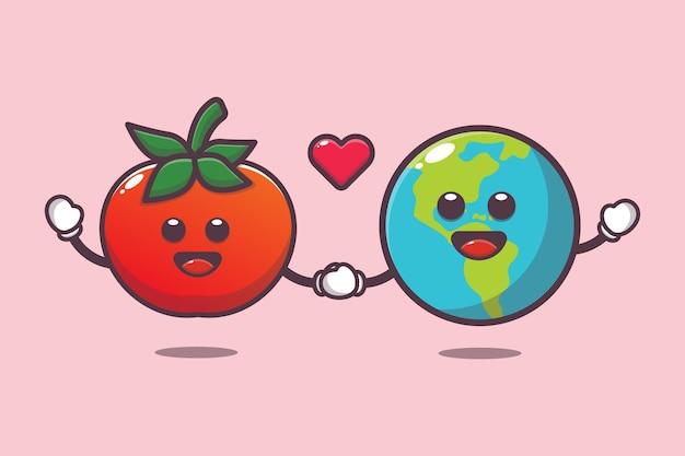 Schattige tomaat en aarde met liefde