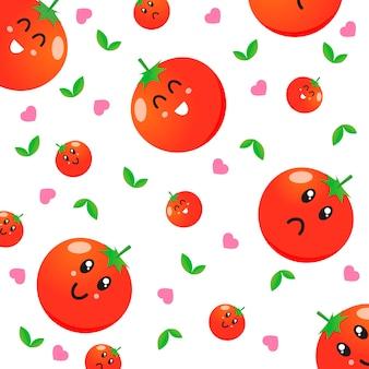 Schattige tomaat karakter patroon vector
